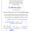 Master of Science in Oral Implantology für Dr. Mathias Gläser der Goethe Universität Frankfurt am Main