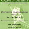 Certificate of Achievement für Dr. Nina Eckardt des College of Dentistry – Oral Implantology – Implantologie Zertifikat